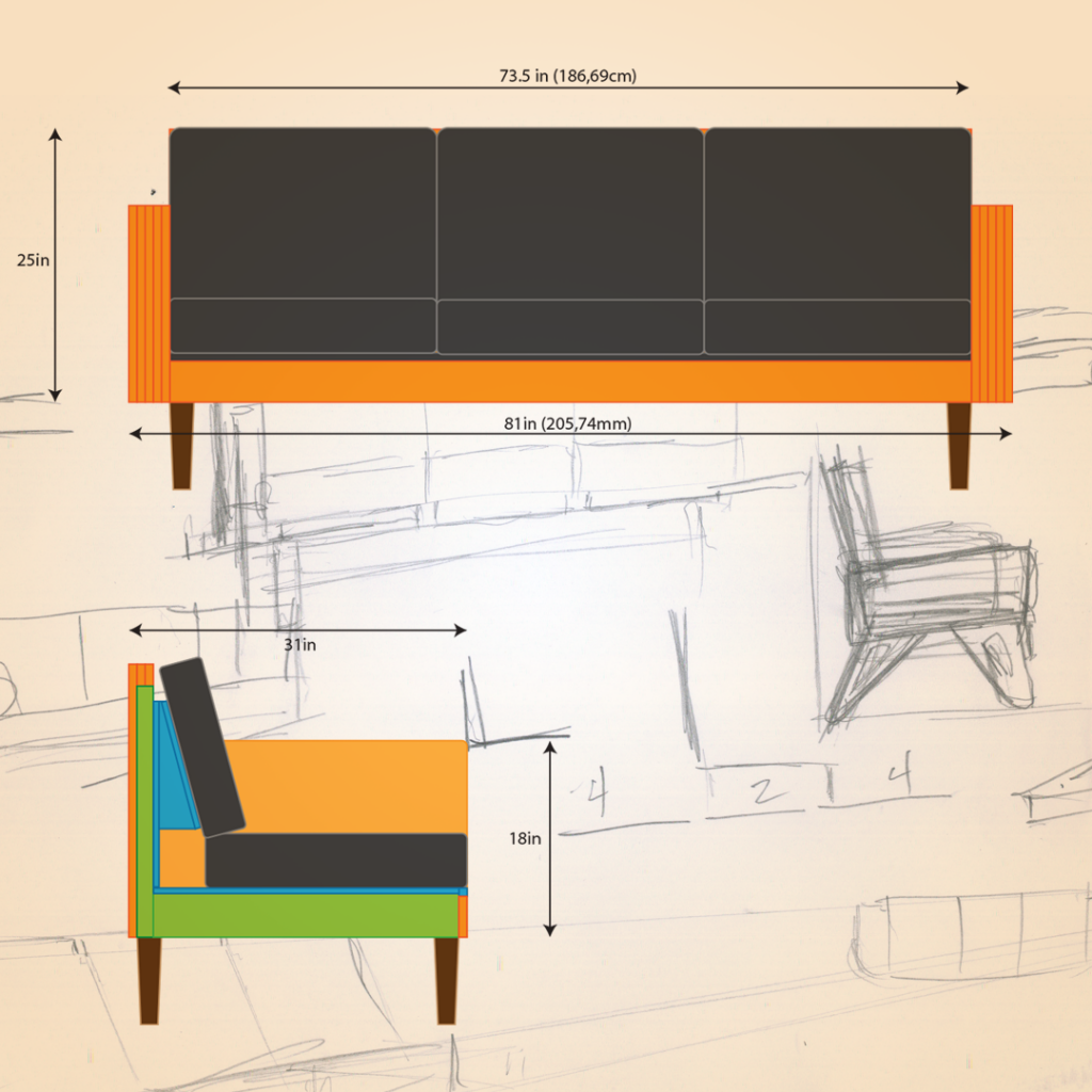 Preliminary design for a mid century modern inspired box sofa