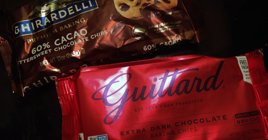 Ghirardelli and Guittard bittersweet chocolate baking chips