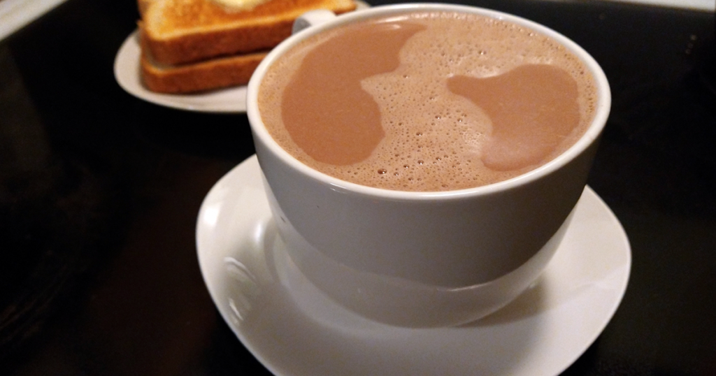 A rare whipped cream free serving of hot chocolate