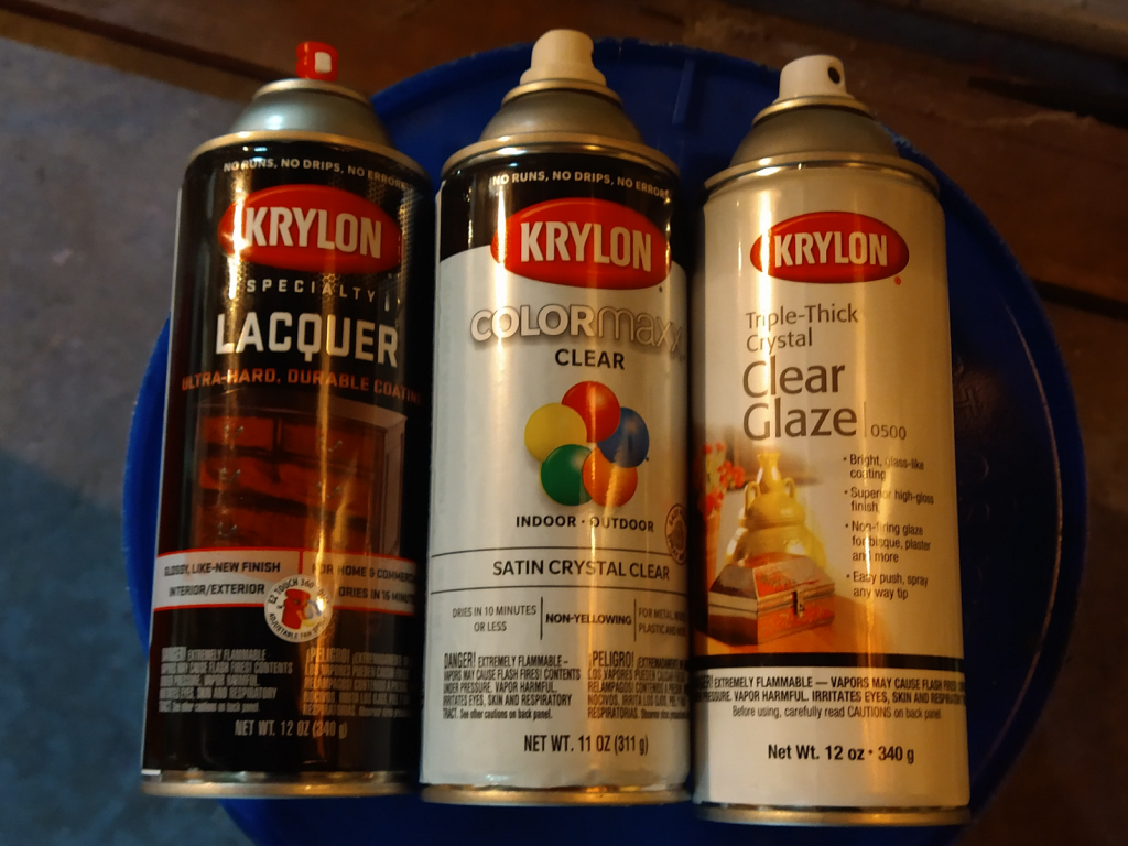 Three different varieties of Krylon clear coatings